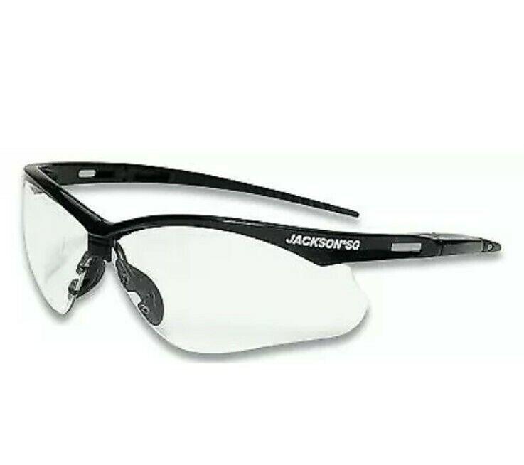 Jackson SG Safety Glasses, Clear Polycarbonate Anti-Scratch Lens Black 50000