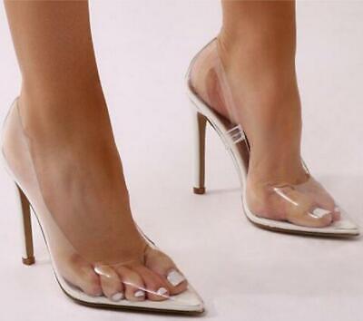 New Women's Clear PVC Transparent Pumps Sandals Point Toes High Heels Pump