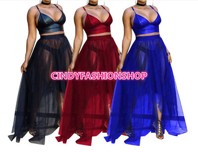 Women Sexy 2 Piece Set Spaghetti Strap Crop Top +Mesh Flare Gauzu Long Dress #P8 Mesh Dress Set