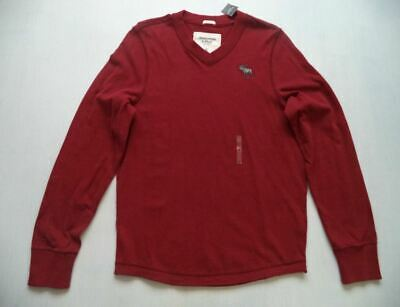 NWT Abercrombie & Fitch A&F ANF Long Sleeve V-Neck Tee T-Shirt Red Medium M