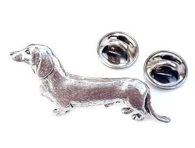 Dachshund Handcrafted in Solid Pewter In UK Lapel Pin Badge