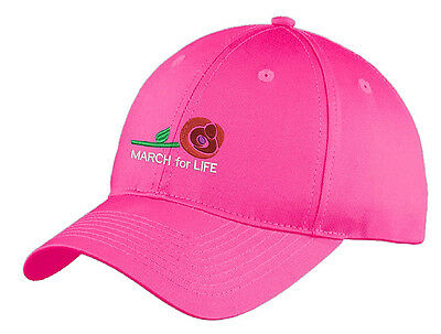 March for Life elegant embroidered cap, Support Life, Pro-Life, Women's Pink Hat
