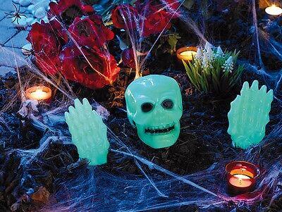 LOWEEN GRUSEL-DEKO-SET Leuchtet giftgrün Helloween 3-teilig (Glow In The Dark Grün)