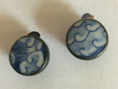 Antique Chinese Porcelain Blue & White Shard Clip-On Clip Earrings Sterling 925