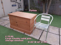 LARGE pine box storage trunk ottoman blanket box