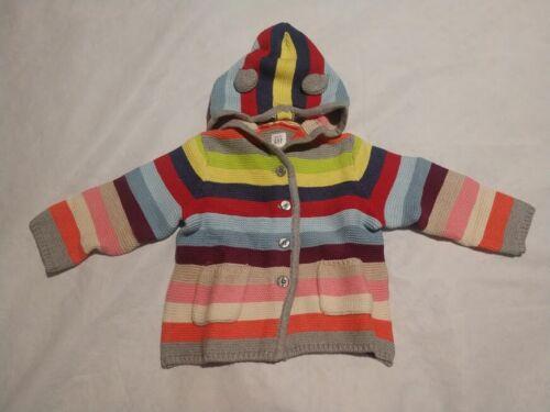 NWT Baby Gap Brannan Bear Crazy Stripe Sweater Hoodie 18-24 Months