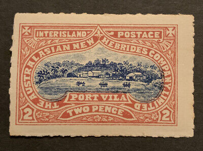 Early New Hebrides Port Villa 2d Red Stamp Interisland Postage