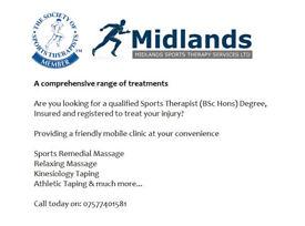 Sports Massage, Relaxing Massage, Deep Tissue Massage , Swedish Massage, Mobile Clinic, Birmingham