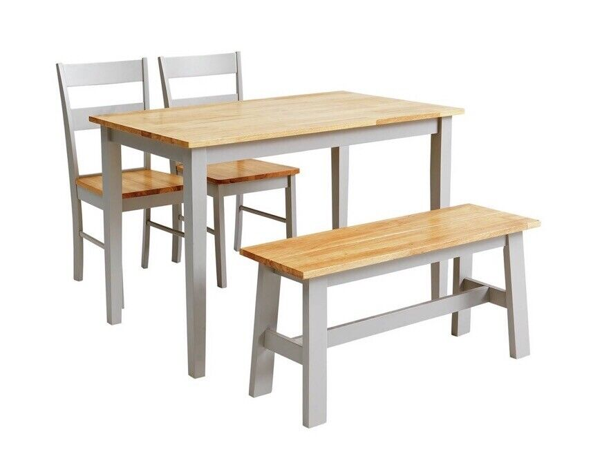 Dining Table 2 Chairs And Bench Set Solid Wood Argos