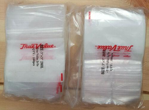 "3 Bags- total of 300 Bag - Arts Llc,True Value, 100 Pack 3"" x 3"" 2 Mil Zip Lock"