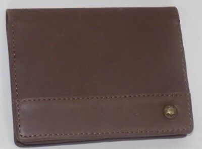 GENUINE LEATHER FRONT POCKET WALLET BUSINESS CARD CASE 1 ID WINDOW 4 CARD SLOT