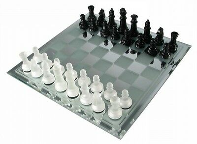 "14"" Glass Mirror Board Chess Set Glossy Black & Frosted White Chessmen 3"" King"