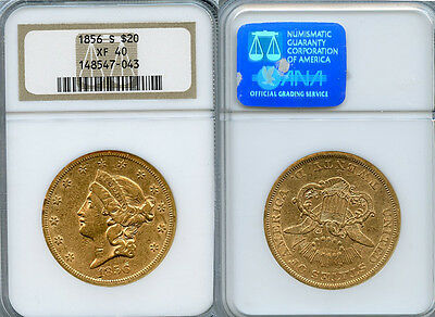 1856 S $20 GOLD COIN NGC XF40