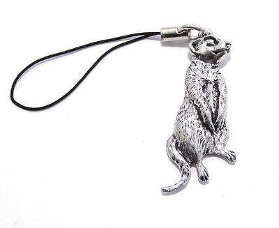 Meerkat Bag Phone Charm in Fine English Pewter, Handmade, meercat