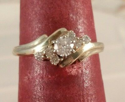 10K Yellow Gold Genuine Diamond Solitaire Free Sizing