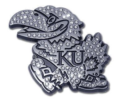 Kansas University Jayhawks Austrian Crystals Chrome Logo Auto Car Emblem