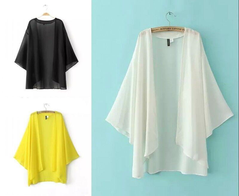 damen chiffon kimono mantel strand sonnenschutz jacke. Black Bedroom Furniture Sets. Home Design Ideas