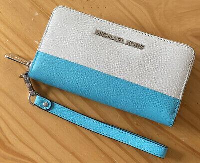 Michael Kors Jet Set White Aqua Saffiano Leather Wristlet Phone Wallet Purse