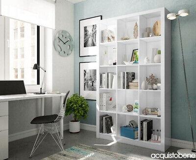 Mobile Libreria Moderna a Cubo con 15 vani 5 Ripiani Bianco Lucido casa ufficio