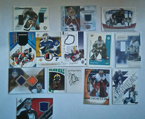 80+ BV 950$+ Game Used cartes guardien jersey, auto, pad, gants