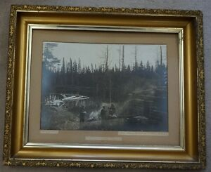 Early Framed Photograph Hunting Camp showing 3 Ontario Persons