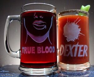 NEW 'TRUE BLOOD' Etched Glass Beer Mug Valentine's Day Gift