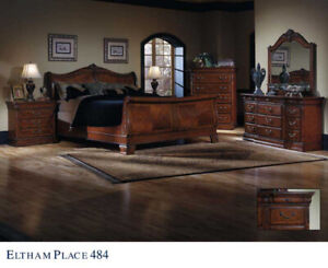 LIKE NEW Cherry Wood COMPLETE Bedroom Set - King Bed + more
