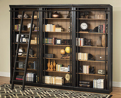 Toulouse Black 3 Piece Office Bookcase Set or Library Bookcase Wall with Ladder