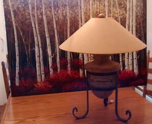 "Lamp (24"" h) and Bouclair print (32""x47"")"