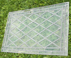 QTY(3) VINTAGE / ANTIQUE STAINED GLASS TYPE CLEAR LEADED WINDOWS