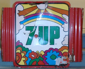 "Tin Peter Max 7 Up Sign Late 60's Early 70's   Approx 36"" X 29"""