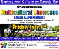Seeking performers for Canada Day 2016