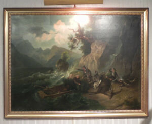 EARLY OIL PAINTING ON CANVAS HUNTING SCENE
