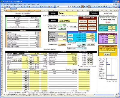 CashFlow 101 & 202 Excel Spreadsheets Rich Dad Kiyosaki