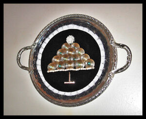 HANDMADE ALTERED SILVER TRAY WITH A CHRISTMAS TREE COLLAGE