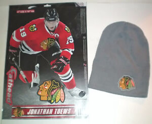 Chicago Blackhawks Toque and Jonathan Toews Fathead Wall Decal