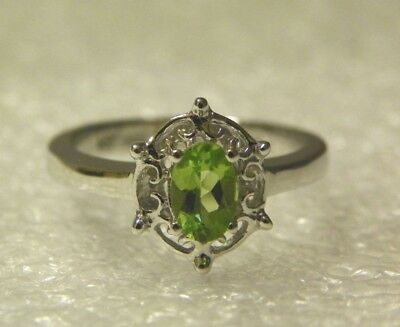 AUGUST BIRTHSTONE~STERLING SILVER GENUINE PERIDOT RING~ Sz 5,6,7,8 ~ NEW IN BOX