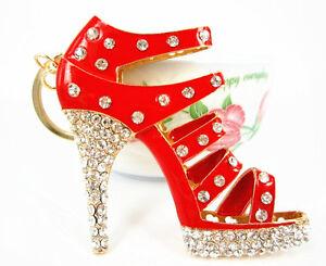 Shoe-Red-High-Heel-Charm-Pendant-Charm-Crystal-Purse-Bag-Keyring-Key-Chain-Gift
