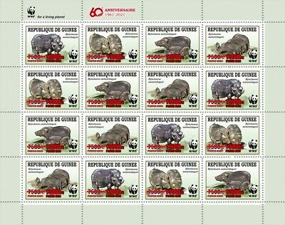 Guinea 2021 MNH WWF Stamps Giant Forest Hog Red OVPT Wild Animals 16v M/S