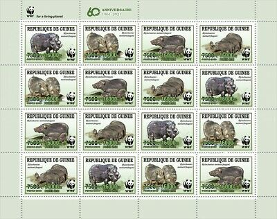 Guinea 2021 MNH WWF Stamps Giant Forest Hog Green OVPT Wild Animals 16v M/S
