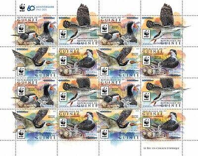Guinea 2021 MNH WWF Stamps African Skimmer Birds Blue OVPT 16v M/S