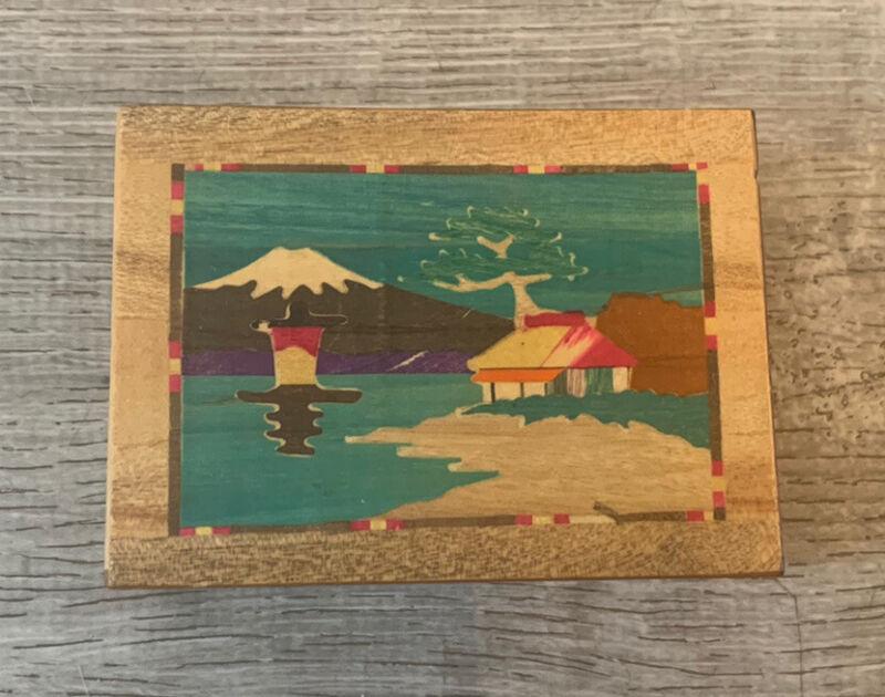 Vintage Japanese Inlaid Wood Trick Puzzle Cigarette Box Case Original S.B. CO