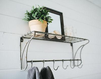 """Wall Shelf Wire with Hooks 24""""~Coat Rack~Mud Room~Vintage Style Farmhouse"""