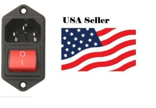1Pcs IEC320 C14 AC Power Cord Inlet Socket With Rocker Switch 250V 15A SR1G