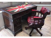 Reproduction Antique Style Desk with Union Jack skiver/inlay, oxblood Chesterfield Captain's chair