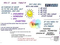 KELL'Z BOOK TABLE...selling books sales go to charity &buy & sell