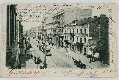 LODZ Poland 1902 Rue Piotrowska Street View Horse Trolley Stores Postcard L3