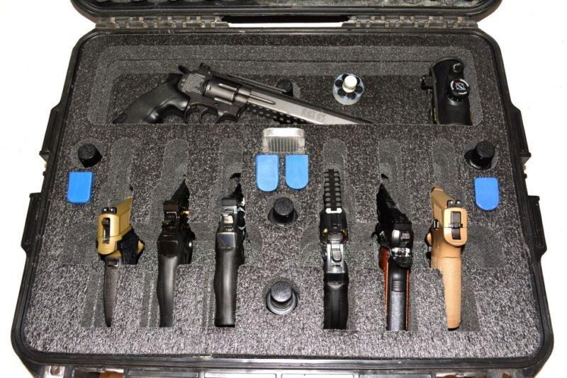 6 large Pistol Revolver Quickdraw foam insert fits your Pelican 1600 case +bonus
