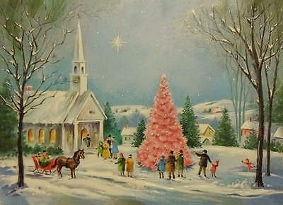 Christmas Church Pink Tree Horse Sleigh vintage art