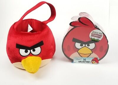 Angry Birds Red Bird - Halloween Easter Plush Basket & 16 Valentines Cards New